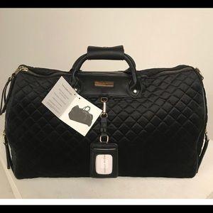 Adrienne Vittadini Black Velvet Quilted Travel Bag